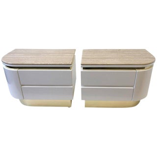 Pair of Brass and Lacquered With Travertine Tops Nightstands by Steve Chase