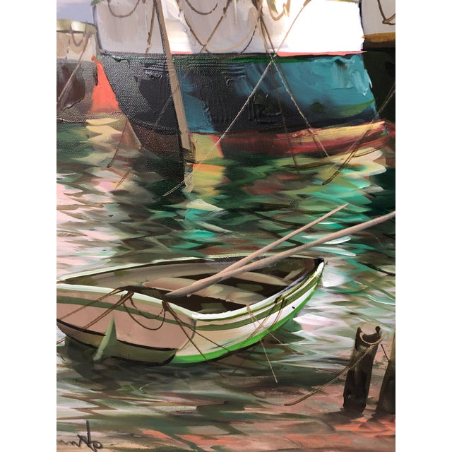 Modern Big Bold Canvas Painting of Harbor Sailboats For Sale - Image 9 of 10