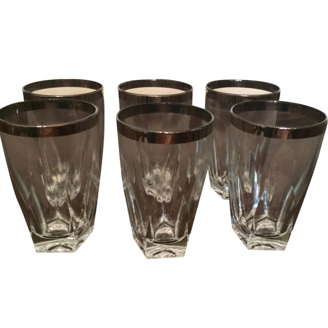 Silver Rimmed Tumblers - Set of 6 - Image 1 of 3