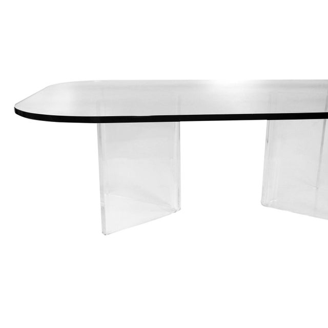 1970s Mid Century Modern Lucite Base Glass Top Coffee Table For Sale - Image 5 of 11