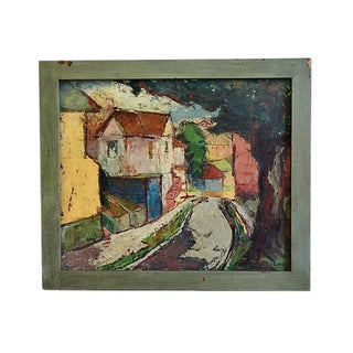 Midcentury Gertrude Lord, City Abstract Oil Painting