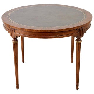 French Louis XVI Style Round Leather Top Game Table For Sale