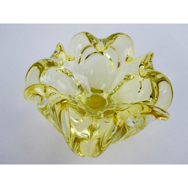 Glass Yellow Murano Hand-Blown Glass Bowl For Sale - Image 7 of 7