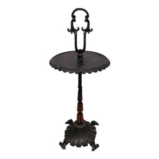 Vintage Spanish Style Cast Iron Black Side Table Smokers Stand ~ Heavy and Sturdy For Sale