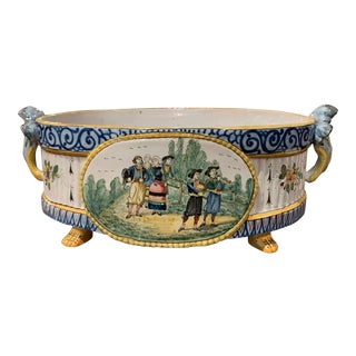 19th Century French Hand Painted Faience Jardinière Signed Hb Quimper For Sale