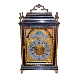 Antique English Ebonized & Bronze Mantle Clock