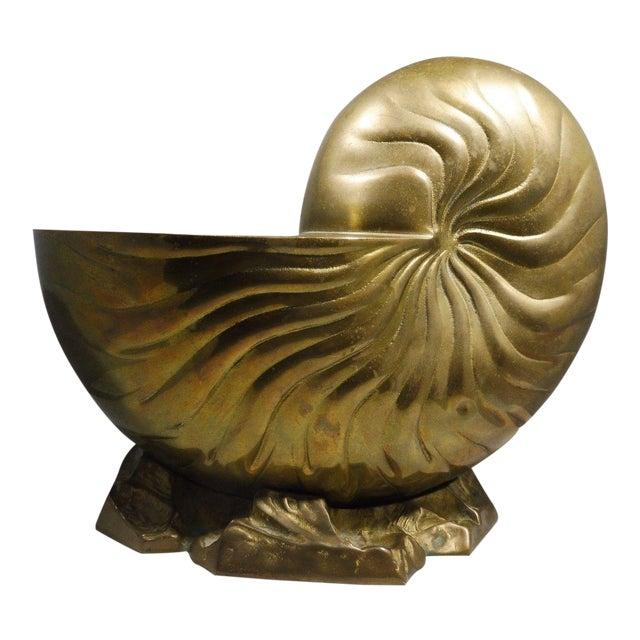 1970's Hollywood Regency Bronze/Brass Nautilus Shell Vase For Sale
