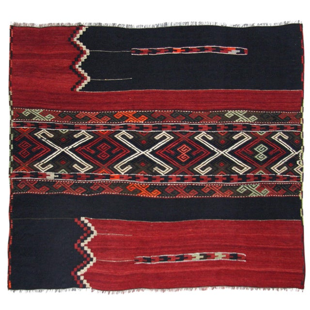 "Vintage Turkish Sofreh Kilim Flatweave Rug - 2'10"" x 3'4"" - Image 1 of 2"