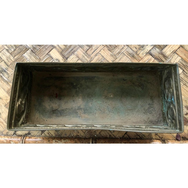 Boho Chic 1940s Vintage Brass Repousse Embossed Rectangular Planter For Sale - Image 3 of 9