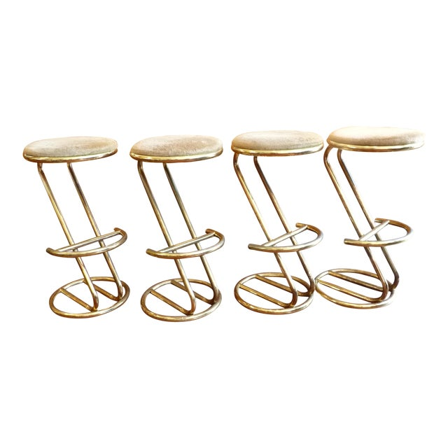 Brass Plated Cantilevered Bar Stools - Set of 4 - Image 1 of 7