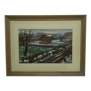 "1973 Vintage Carolyn Caldwell ""Snowy Country Lane"" Painting For Sale"