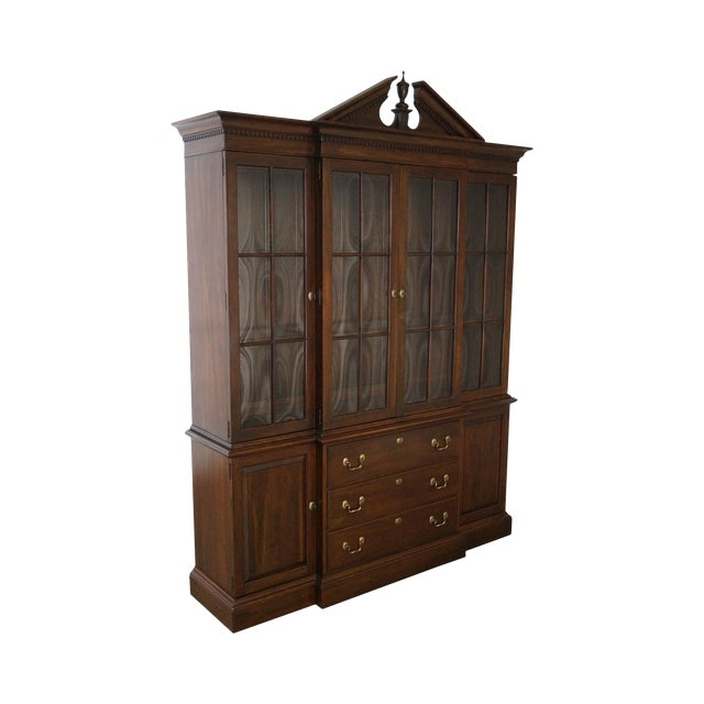 Ethan Allen Georgian Court Solid Cherry Chippendale Style Breakfront - Image 1 of 10