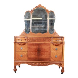 Art Deco Carved Walnut and Burl Wood Dresser With Mirror, 1930s For Sale