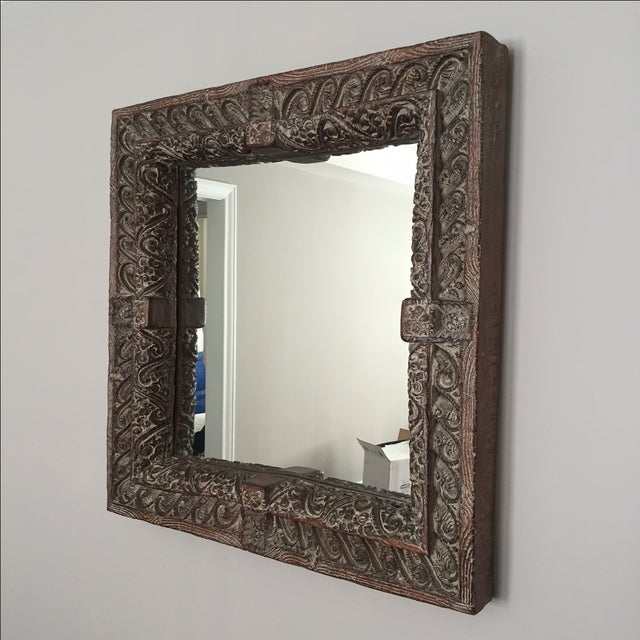 South Asian Style Faux Wood Mirror - Image 2 of 5