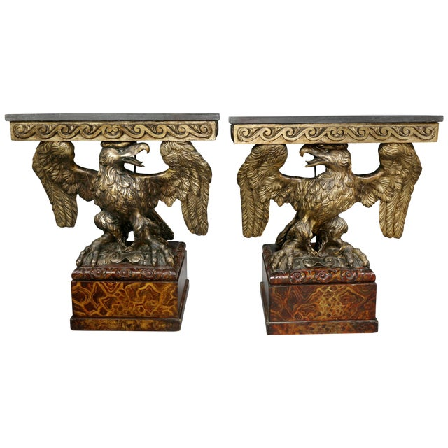 Pair of George II Style Giltwood and Grey Marble Eagle Console Tables For Sale