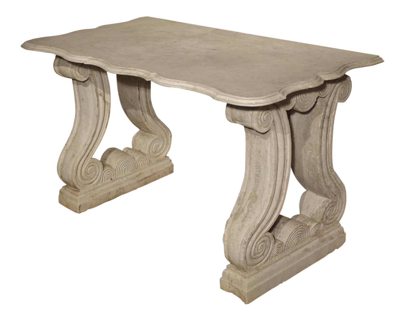 Antique Carved White Marble Console Table From France, 19th Century   Image  1 Of 13