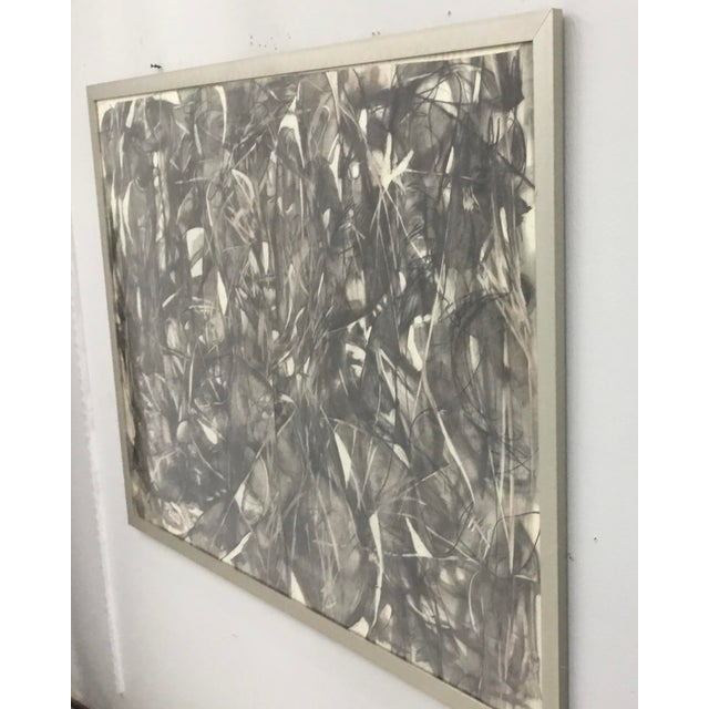 Charcoal Large Format Framed Abstract Ink and Charcoal Drawing For Sale - Image 7 of 13