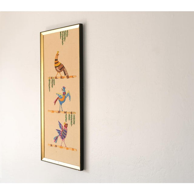 Mid Century Three Birds Crewel Embroidery Wall Hanging For Sale In San Francisco - Image 6 of 13