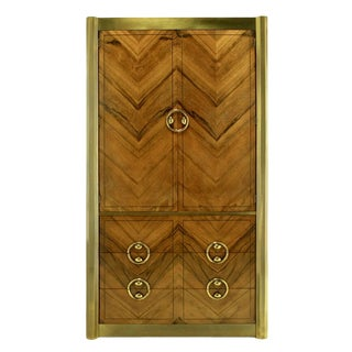 Mastercraft Zebrano Wood and Patinated Brass Tall Wardrobe Cabinet For Sale