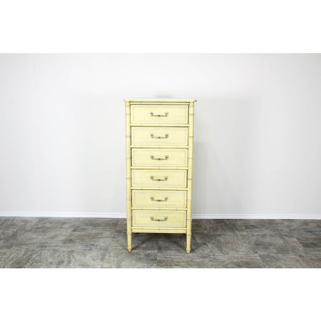 Mid-Century Modern Mid Century Canary Yellow Faux Bamboo Lingerie Chest For Sale - Image 3 of 7