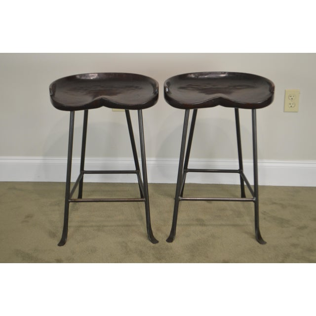 Custom Quality Solid Wood Seat Pair of Iron Backless Bar Stools For Sale - Image 12 of 13
