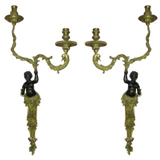 Pair of Regence Bronze Putti Sconces For Sale