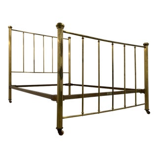 Antique Simmons Brass Plated Double Bedframe For Sale