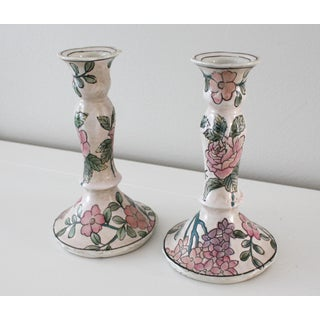 Vintage Famille Rose Floral Pink Candlesticks - a Pair Preview