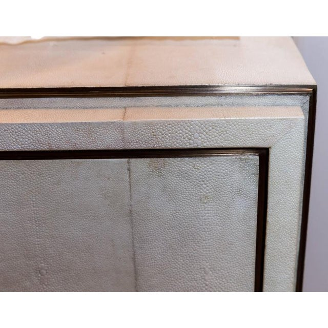 Modern White Shagreen Four-Drawer Commode with Bronze Trim For Sale - Image 3 of 6