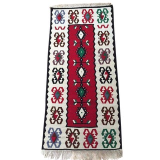 1980s Vintage Turkish Kilim Runner Rug - 1′11″ × 4′5″ For Sale