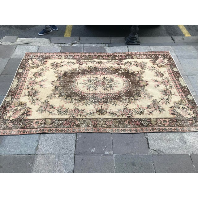 Oushak Anatolian Handwoven Tribal Rug - 5′1″ × 8′3″ For Sale In Austin - Image 6 of 11