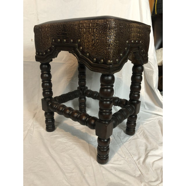 Rustic Ranch Bar Stool With Brown Leather & Crocodile Embossed For Sale - Image 4 of 8