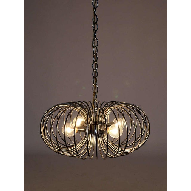 "Chrome Gaetano Sciolari ""Cage"" pendant lamp by Lightolier For Sale - Image 7 of 11"