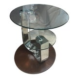 Image of Contemporary Hammary Furniture Pivot Walnut Veneers Round End Table For Sale