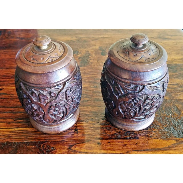 19c Anglo Indian Pair of Carved Wooden Spice Urns For Sale - Image 4 of 10
