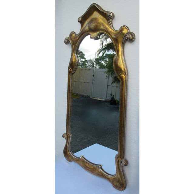 Glass Vintage Hollywood Regency Dorothy Draper-Style Parcel Gilt Gold & Silver Ornate Curvy Mirror For Sale - Image 7 of 13