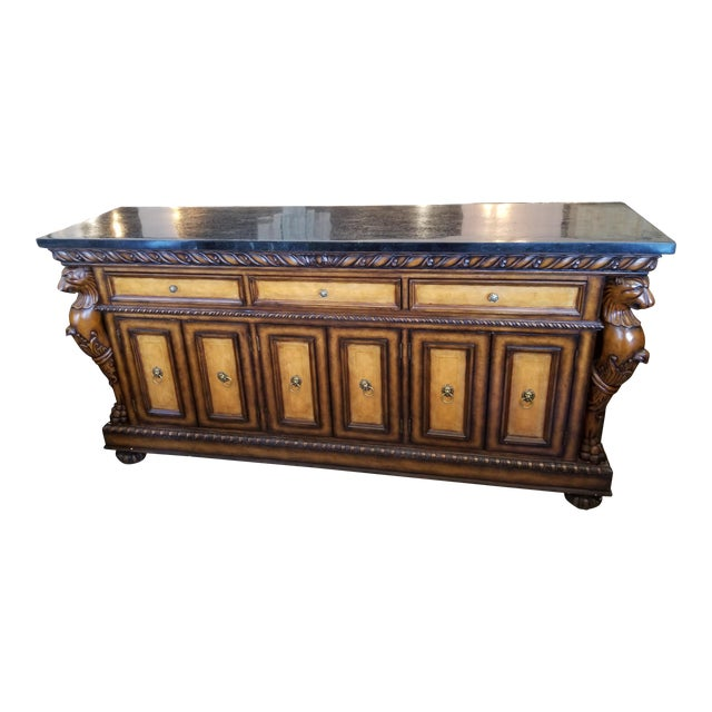 Traditional Black Faux Marble Top Buffet with Lion Motif Corner Pillars For Sale