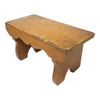 Antique American Grain Painted Wood Fireside Stool For Sale