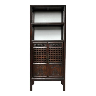 Antique Elm Book Cabinet