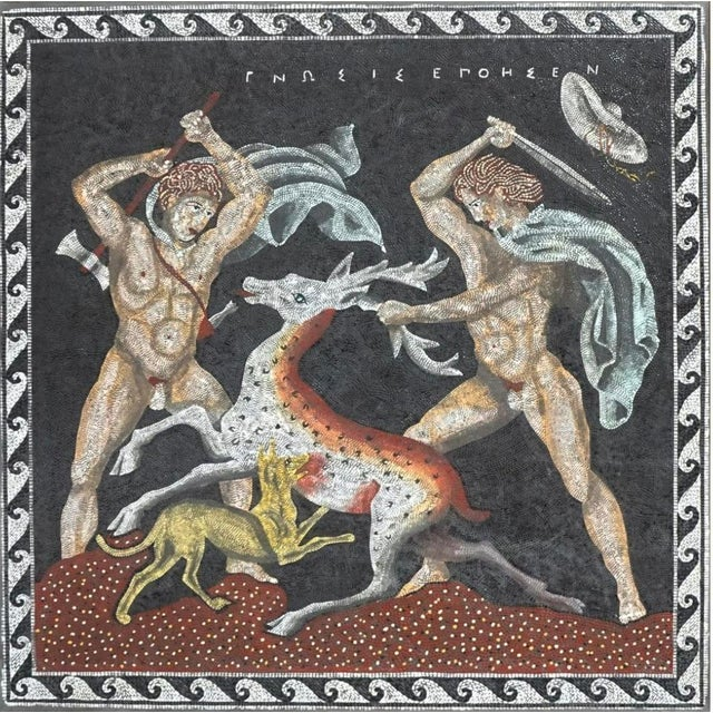 An Italian Micro Mosaic plaque. A copy of an ancient Italian Empire scene depicting two hunters out on a hunt. Excellent...