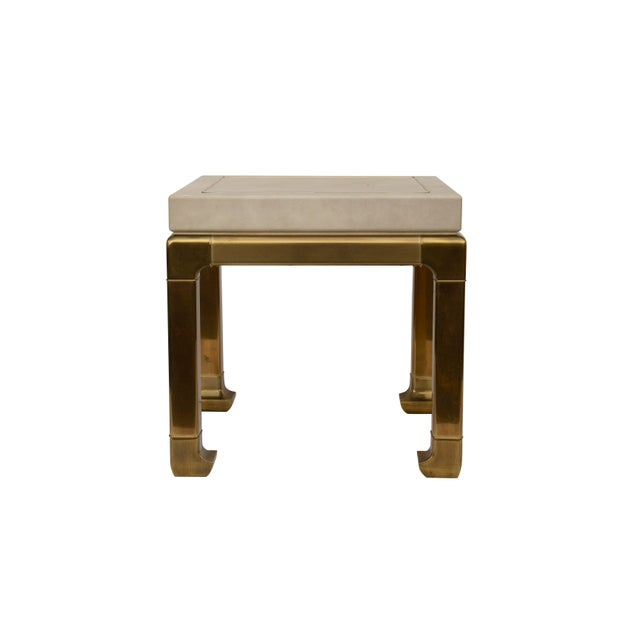 1970s Ming Style Brass and Ivory End Table by Mastercraft For Sale - Image 5 of 11