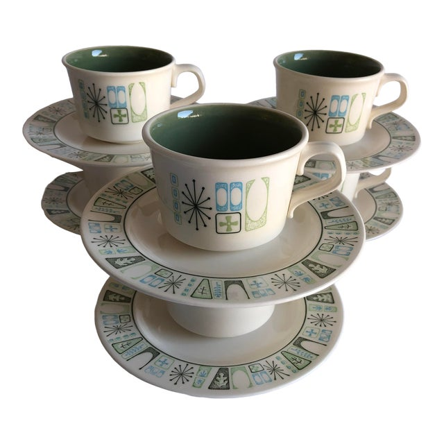"""Midcentury Starburst Design """"Cathay """" Taylor Smith & Taylor Teacups and Saucers S/6 For Sale"""
