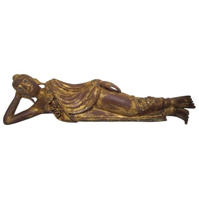 Thai Reclining Wood Figure - Image 1 of 5