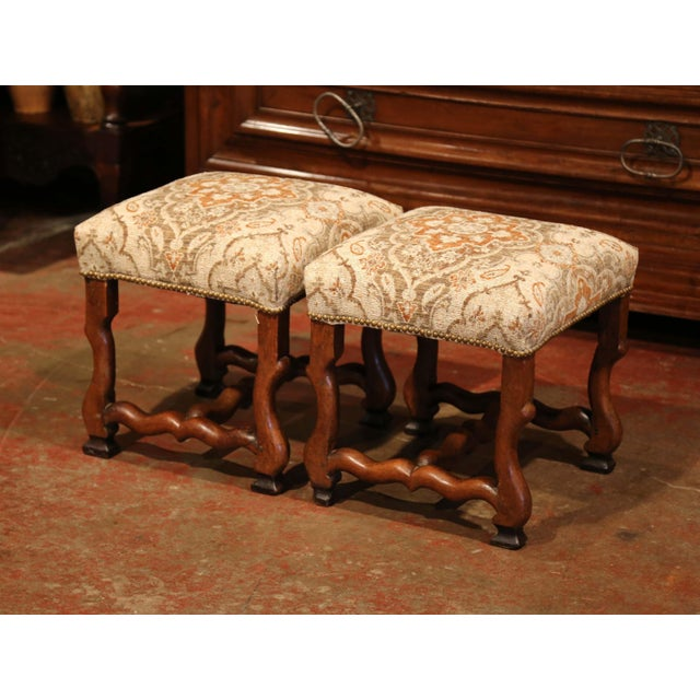 19th Century French Louis XIII Carved Walnut Os De Mouton Stools - a Pair For Sale - Image 4 of 9