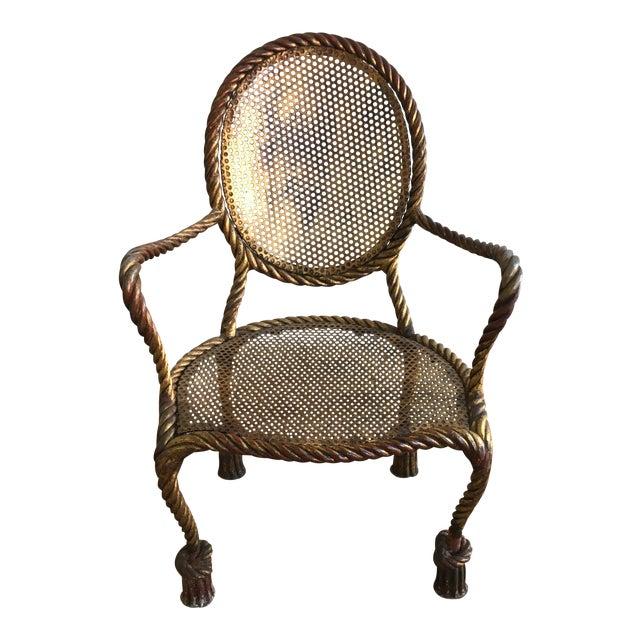 Vintage Italian Tole Metal Rope Chair - Image 1 of 11