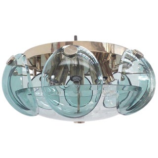 Beveled Glass Flush Mount by Cristal Art For Sale