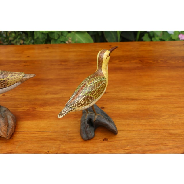 Wood Folk Art Shorebird Sculptures - A Pair For Sale - Image 7 of 7