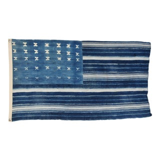 """Boho Chic Indigo Blue & White Flag From African Textiles 57"""" X 33"""" For Sale"""