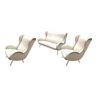 In the Style of Senior Chair by Marco Zanuso Set of One Couch and Two Chairs