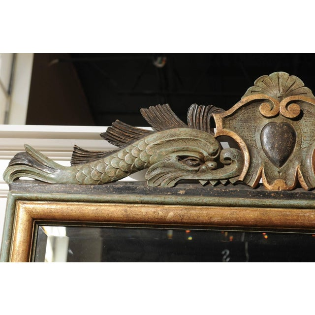 Italian 1850s Baroque Style Painted Mirror, Hand-Carved with Stylized Dolphins For Sale - Image 10 of 12